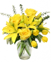 Yellow Lilies And Yellow Roses Bouquet