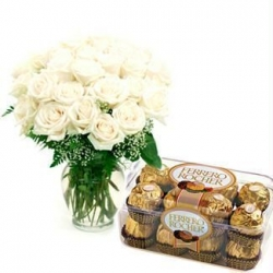 White Roses N Chocolate Combo