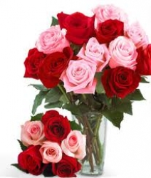 Red N Pink Rose Vase Arrangement