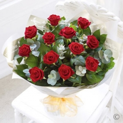 Hand Tied Bunch Of Red Roses