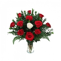 Glass Vase Arrangement Of Red And White Roses