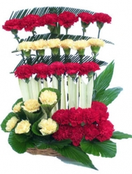 Red And Yellow Carnation Basket Arrangement