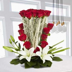 White Lilies And  Red Roses Arrangement