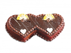Double Heart Shape Wedding  Cake - 2 Kg