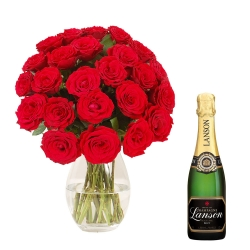 100 Red Roses Bouquet With Bottle Of Champagne