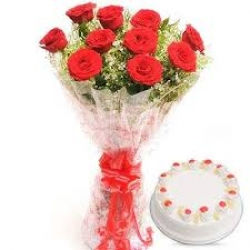 12 Red Rose Bouquet With Pineapple Cake
