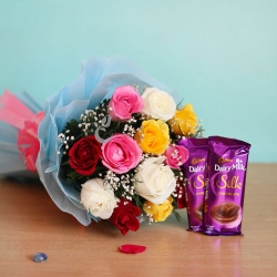 Multicolored Roses Bouquet With Diary Milk Silk