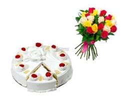 Mix Color Roses N Pineapple Cake