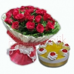 100 Red Roses Bunch N Pineapple Cake