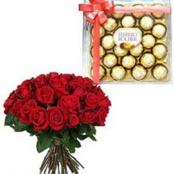 50 Red Roses Bouquet With Ferrero Rocher