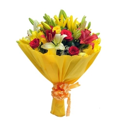 Exotic Flower Bouquet Of Lilies And Roses