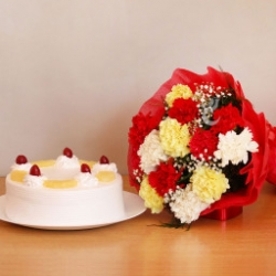 Carnations Bouquet With Pineapple Cake