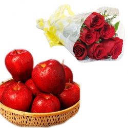 Red Roses With Apple