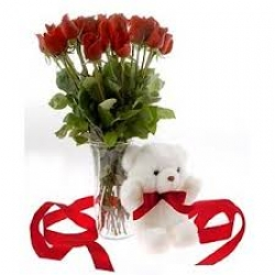 Teddy And Red Rose Bouquet Combo Gift
