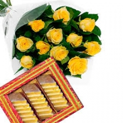 Yellow Roses Bouquet With Kaju Barfi