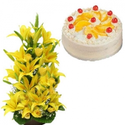 Yellow Lilies And Pineapple Cake