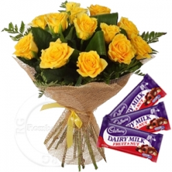 Yellow Roses Bouquet With Chocolate