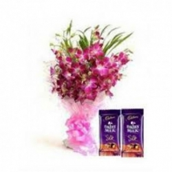 Orchid Bouquet With Dairy Milk Silk