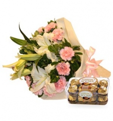 Bouquet Of Lilies And Ferrero Rocher Chocolate