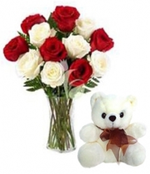 Roses In A Vase With Teddy