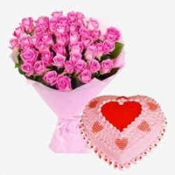 Pink Roses Bouquet And Heart Shaped Strawberry Cake