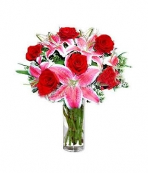 Pink Lilies And Red Roses Vase Arrangement