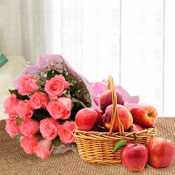 Pink Roses Bouquet With Fresh Fruit