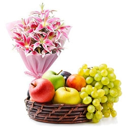 Pink Lilies Bouquet  Fresh Fruit