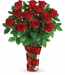 12 Red Roses Vase Arrangement