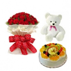 Red Roses Bouquet,cake And Teddy Combo