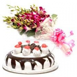 Bunch Of Orchid Black Forest Cake
