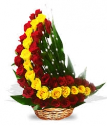 Red Meets Yellow Basket Arrngement