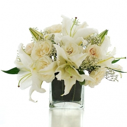 White Lilies And White Roses Glass Vase Arrangement