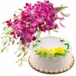 Pineapple Cake And Orchid Bunch