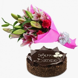 Lilies Bouquet With Chocolate Cake