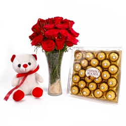 Roses Bouquet With Chocolate And Teddy Hamper