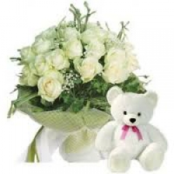 White Roses Teddy