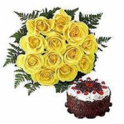 Yellow Roses Bunch With Black Forest Cake