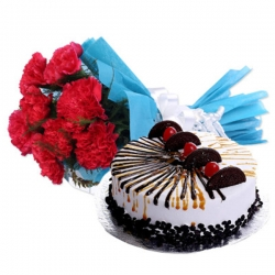 Red Carnations With Choco Vanilla Cake