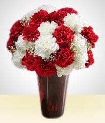 Red And White Carnations Arrangements