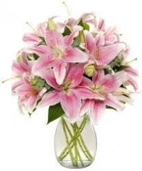 Pink Lilies Glass Vase Arrangement