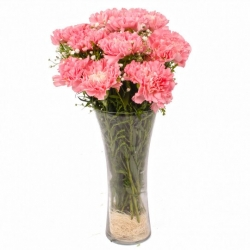 Glass Vase Arrangement Of Pink Lilies