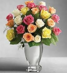 Multi Color Roses In A Vase