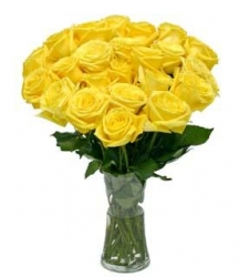 12 Yellow Roses In A Glass Vase