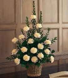 Pure White Basket Arrangement