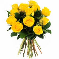 18 Yellow Roses Hand Tied Bunch