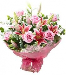 Pink Roses And Pink Lilies Bouquet