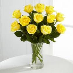 12 Yellow Roses Vase Arrangement