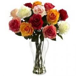 12 Multicolor Roses Vase Arrangement