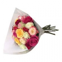 11 Multicolor Roses Hand Tied Bunch